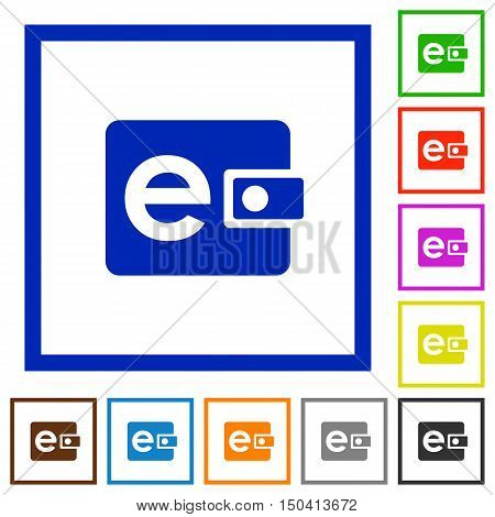 Set of color square framed electronic wallet flat icons