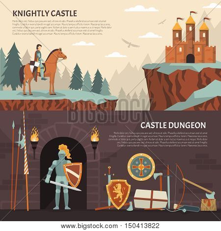 Medieval knight horizontal banners with knightly castle and castle dungeon decorative compositions flat vector illustration