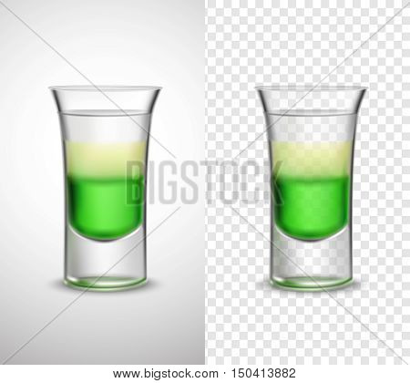 Unique colored glassware 2 realistic transparent banners set with light rum syrup alcohol drink isolated vector illustration