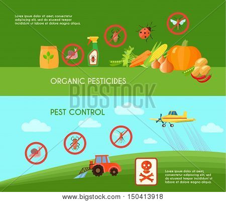 Pest control horizontal banners set with organic pesticides symbols flat isolated vector illustration