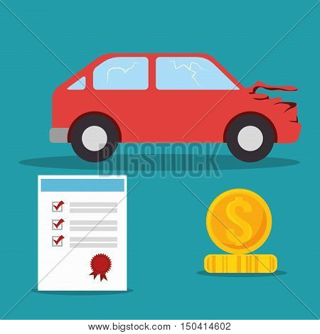 car crash insurance with certificate and money icon. colorful design. vector illustration