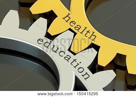 Health Education concept on the gearwheels 3D rendering