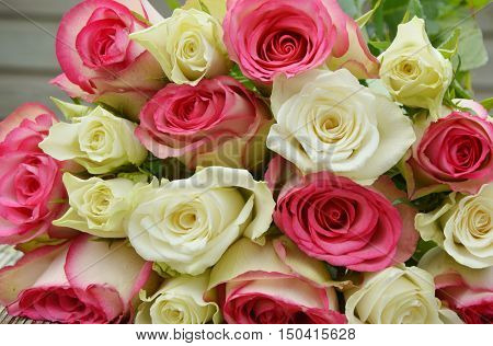 pink and white  roses on the wooden table. pink and white flower for a special day