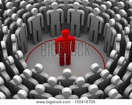 The person is an introvert or sociophobe. The concept. Red symbol of man standing in a red circle and around a lot of people. Isolated. 3D Illustration
