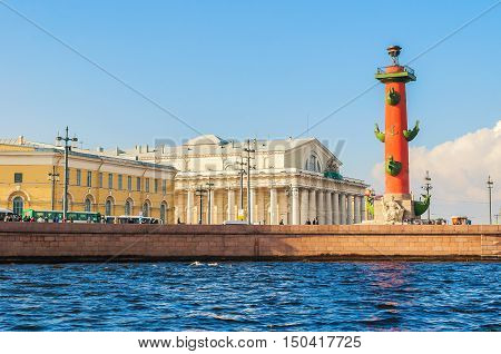 St Petersburg panorama - Neva river and St Petersburg landmarks of Vasilievsky island spit - rostral column and stock exchange building in St Petersburg Russia