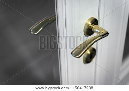 Wooden white closed door with golden metal handle
