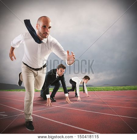 Man competes in a race to get there first