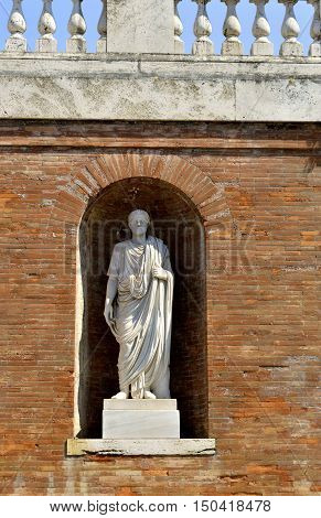 Rome Italy - September 12 2016 : Statue on Salita di Montecavallo in Rome
