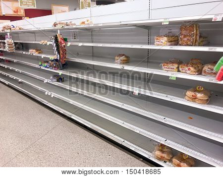 10 / 05 / 2016 ~2:30 PM - In preparation for hurricane Matthew local supermarket in Osceola County Florida running out of staples such as bread.