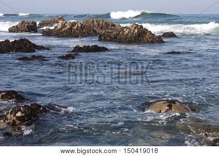 This is an image of the incoming tide at Pacific Grove, California.