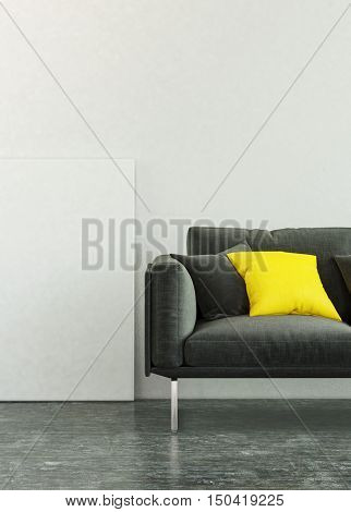 3D rendering of living room scene of black sofa with yellow square pillows, dark floor and blank picture frame with copy space
