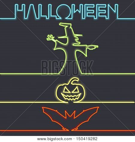 Halloween symbols in neon light, dark background vector illustration