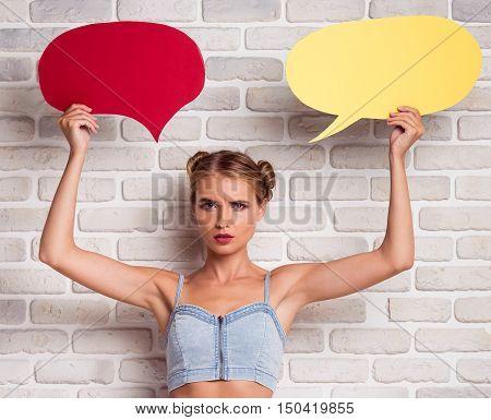 Summer Girl With Speech Bubble