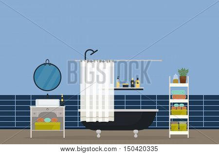 Bathroom interior, home room for hygiene. Sink with faucet and mirror, bathroom with shower head and valve, hand and body towel and gel, washbasin with shampoo and soap, lotion and deodorant. eps 10