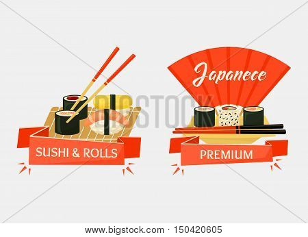 Nigirizushi and temaki sushi rolls banners or logo for restaurant or kitchen cook. Japanese wooden chopsticks with ribbon saying premium. Traditional japan cuisine or cook