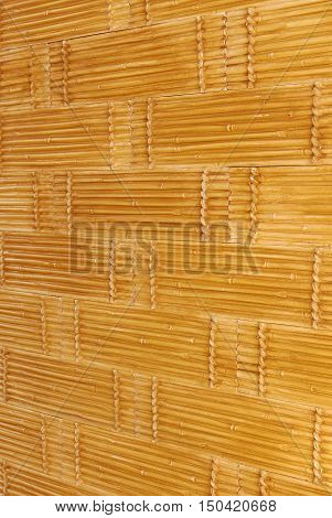 Brick wall pattern of floral ornament, bamboo stalk, by type