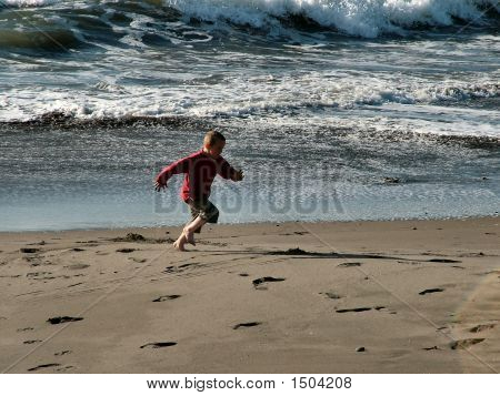 Boy Beach Running