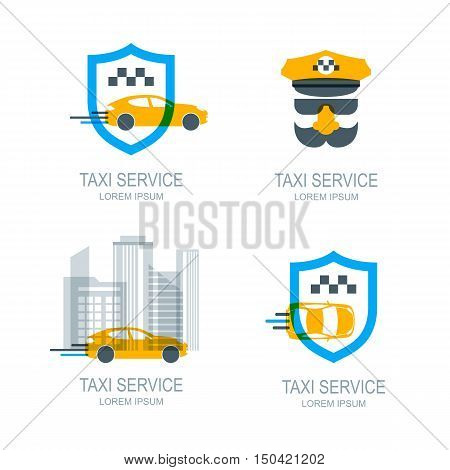 Set of vector online taxi service logo icons and symbol. Yellow taxi car shield and city buildings. Taxi app concept. Taxi cab location point.