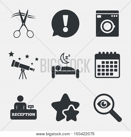 Hotel services icons. Washing machine or laundry sign. Hairdresser or barbershop symbol. Reception registration table. Quiet sleep. Attention, investigate and stars icons. Telescope and calendar signs