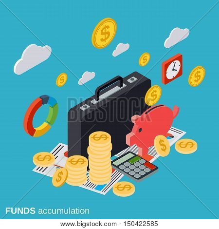 Funds accumulation, business portfolio, financial statistic flat isometric vector concept illustration