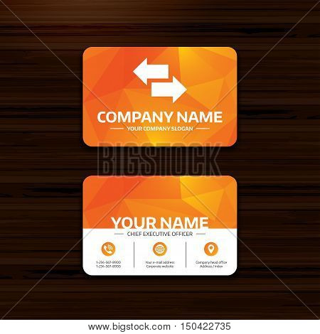 Business or visiting card template. Incoming and outgoing calls sign. Upload. Download arrow symbol. Phone, globe and pointer icons. Vector