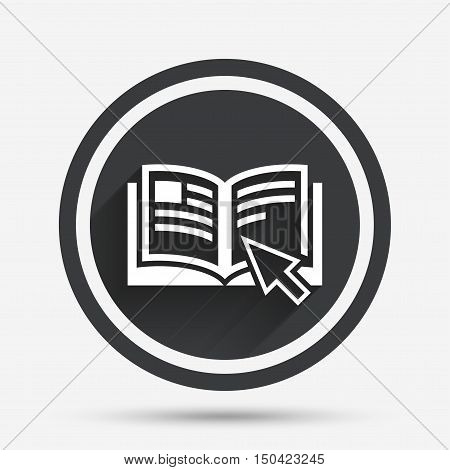 Instruction sign icon. Manual book symbol. Read before use. Circle flat button with shadow and border. Vector