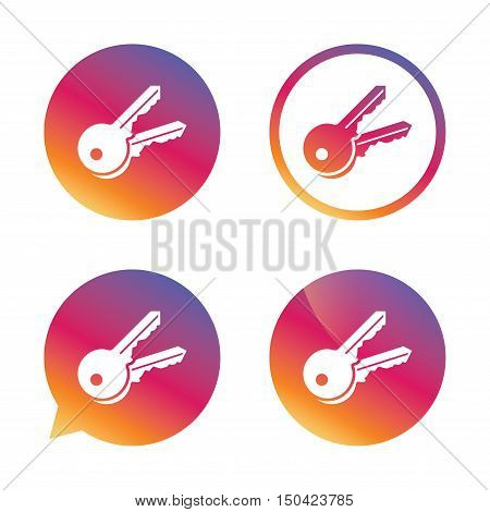 Keys sign icon. Unlock tool symbol. Gradient buttons with flat icon. Speech bubble sign. Vector