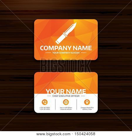 Business or visiting card template. Knife sign icon. Edged weapons symbol. Stab or cut. Hunting equipment. Phone, globe and pointer icons. Vector