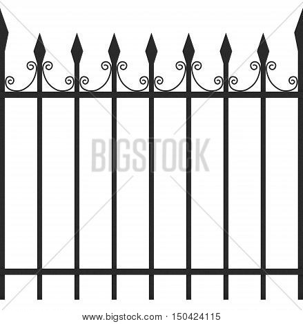 Seamless Tileable Iron Fence 3D Illustration Isolated on White Background