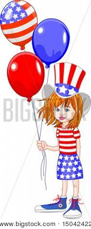 Cute girl holding American flag colored balloons