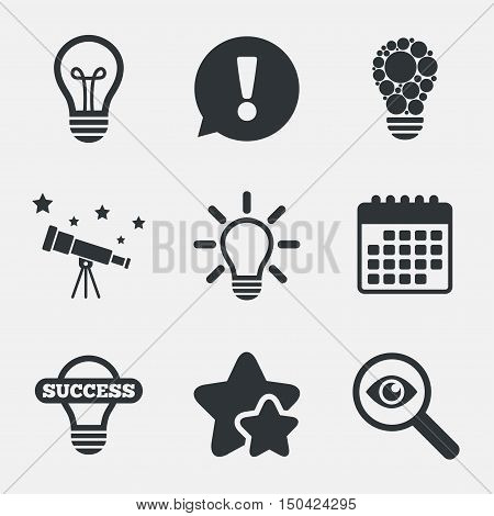 Light lamp icons. Circles lamp bulb symbols. Energy saving. Idea and success sign. Attention, investigate and stars icons. Telescope and calendar signs. Vector
