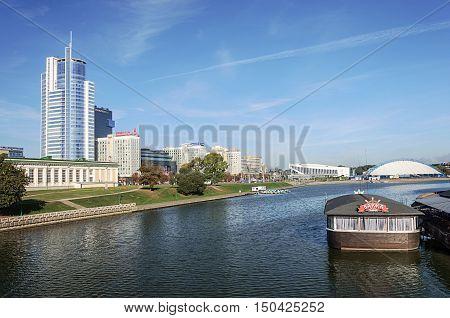 Minsk, Belarus - September 13, 2016: View of Svisloch river and central district Nemiga