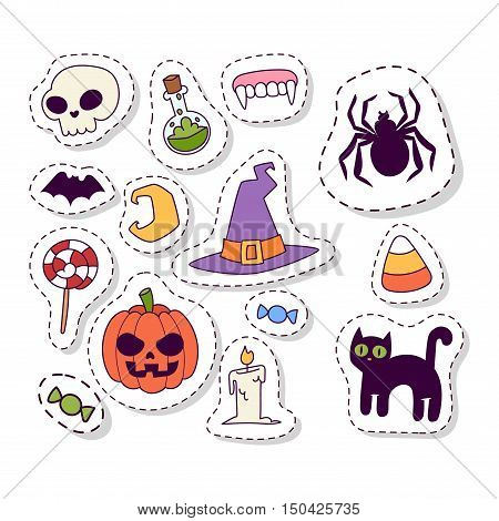 Halloween symbols seamless pattern vector collection autumn fear creepy traditional sign. Halloween seamless pattern holiday bat horror design set. Celebration ghost spooky october halloween symbols.