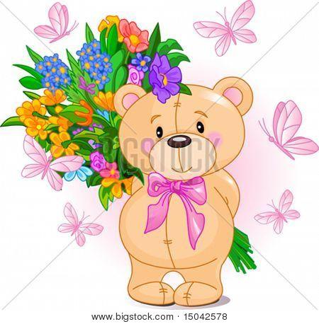 Lindo oso de peluche pequeño con un ramo