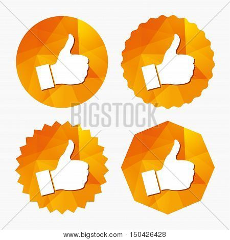 Like sign icon. Thumb up sign. Hand finger up symbol. Triangular low poly buttons with flat icon. Vector