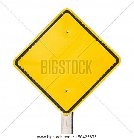 Empty yellow sign to put your information, to call attention. Blank sign.