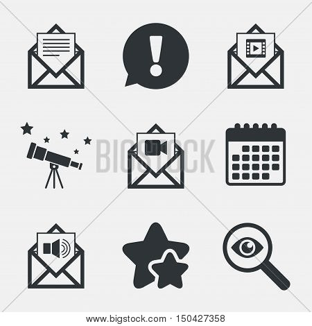 Mail envelope icons. Message document symbols. Video and Audio voice message signs. Attention, investigate and stars icons. Telescope and calendar signs. Vector