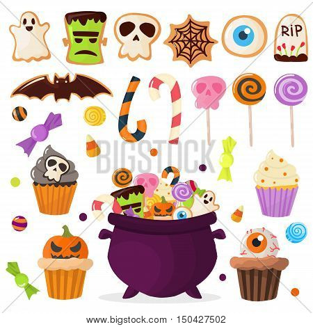 Halloween symbols vector collection autumn fear creepy traditional signs.