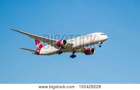 LONDON, HEATHROW, UK - 03 OCTOBER 2016: Boeing 787 Dreamliner Virgin Atlantic airlines landing at London Heathrow Airport
