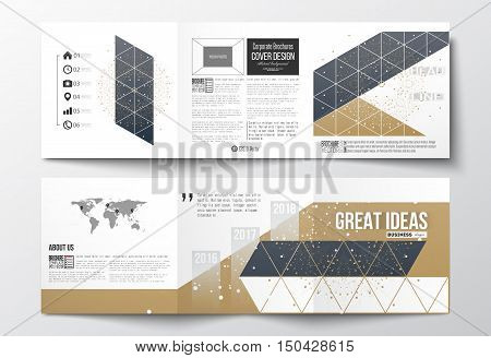 Vector set of tri-fold brochures, square design templates with element of world map. Polygonal backdrop, connecting dots and lines, golden background, connection structure. Digital or science vector