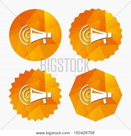 Megaphone sign icon. Loudspeaker strike symbol. Triangular low poly buttons with flat icon. Vector