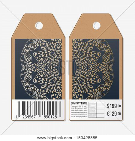 Vector tags design on both sides, cardboard sale labels with barcode. Golden microchip pattern, abstract template with connecting dots and lines, connection structure. Digital scientific background