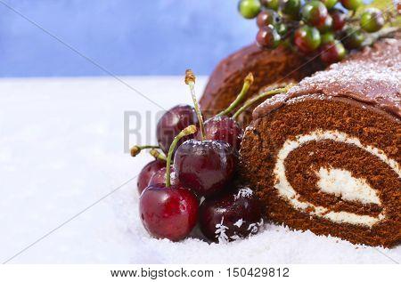Christmas Yule Log Cake.