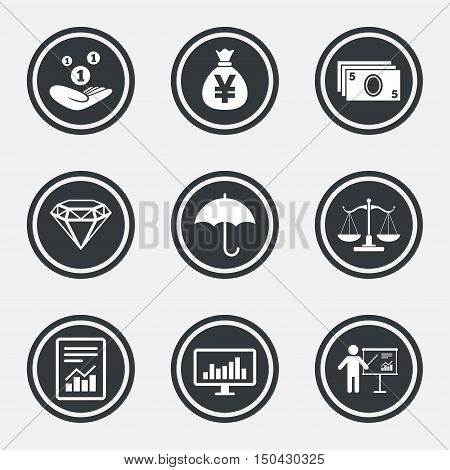 Money, cash and finance icons. Money savings, justice scales and report signs. Presentation, analysis and umbrella symbols. Circle flat buttons with icons and border. Vector