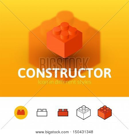 Constructor color icon, vector symbol in flat, outline and isometric style isolated on blur background
