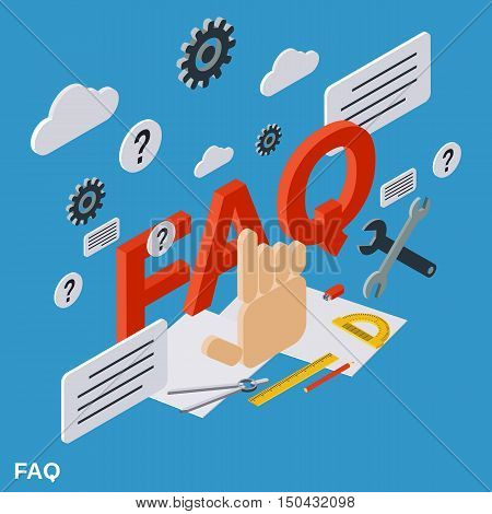 FAQ, user guide, customer technical support flat isometric vector concept illustration
