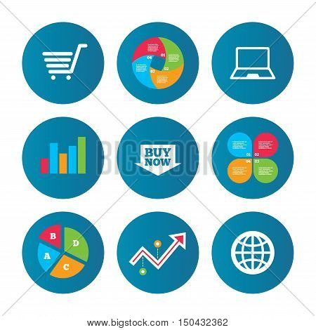 Business pie chart. Growth curve. Presentation buttons. Online shopping icons. Notebook pc, shopping cart, buy now arrow and internet signs. WWW globe symbol. Data analysis. Vector