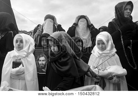 Istanbul, Turkey - November 3, 2014: Mourning of Muharram in Turkey. Day of Ashura. A Universal Ashura Mourn Ceremony was held in Istanbul to commemorate the martyrdom of Husain ibn Ali the grandson of the Prophet Muhammad and his 71 friends.