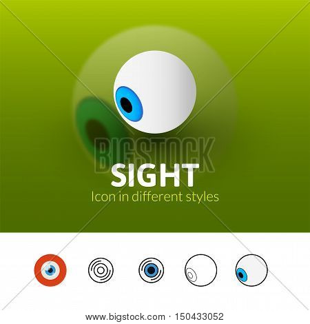 Sight color icon, vector symbol in flat, outline and isometric style isolated on blur background