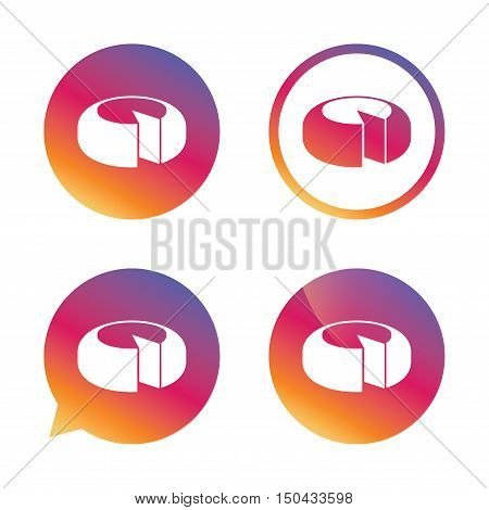 Cheese wheel sign icon. Sliced cheese symbol. Round cheese. Gradient buttons with flat icon. Speech bubble sign. Vector